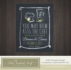 Chalkboard Kiss the Chef Chef Hat/KitchenThemed by TheInkedLeaf, $10.00