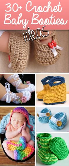 30+ Crochet Baby Booties Ideas For Your Little Prince Or Princess! •✿• Hilary Wayne https://www.pinterest.com/hilarywayne0818/ •✿•✿