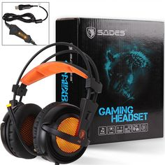 SADES A6 USB 7.1 Surround Stereo Gaming Headset Auriculares Gamer Multi-function Control Remote LED Light Headphone for Computer