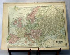 Antique Map of England Wales and Europe from Crams Universal Atlas - Reduced. $12.00, via Etsy.