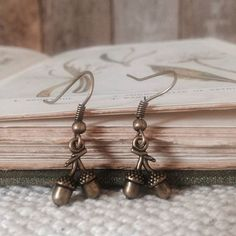 Teeny tiny acorn earrings are just £4.50 in Owl and Wallflowers Etsy store! Very limited quantity, and I ship worldwide! 🍄 🍂 🌿