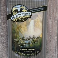 6 oz Coarse Salt $9.99 Amazing flavor, all the minerals of the ocean without the contaminates. http://yellowstonesalt.com/product/pure-salt-coarse-6-oz/