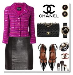 """Chanel blazer!"" by faten-m-h ❤ liked on Polyvore featuring Yves Saint Laurent, Chanel and RED Valentino"