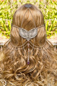 Wings of Isis, stunning silver & pink swarovski crystal hand made filigree bridal circlet. $199.00, via Etsy.