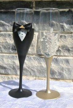 Wedding flutes, bride and groom, lace, pearls Wedding Champagne Flutes, Wedding Bottles, Wedding Glasses, Champagne Glasses, Etched Wine Glasses, Decorated Wine Glasses, Painted Wine Glasses, Wedding Crafts, Diy Wedding