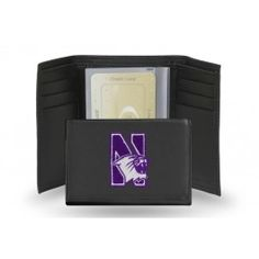 Northwestern Wildcats Team Embroidered Leather Trifold/Wallet