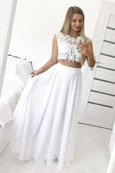 Two Piece Chiffon Floor Length Prom Dress with Lace Appliques, A Line Long Formal Dress This dress could be custom made, there are no extra cost to do custom size and color. Lace Bridesmaid Dresses, Cheap Prom Dresses, Homecoming Dresses, Dress Prom, Wedding Dresses, Event Dresses, Formal Evening Dresses, Trends, White Lace