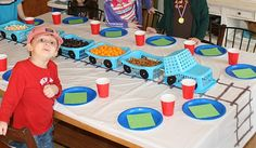 "Cute idea for a train birthday party. Love the snack basket ""train. Thomas Birthday Parties, Trains Birthday Party, Train Party, Birthday Party Themes, Birthday Ideas, Chuggington Birthday, Birthday Snacks, Third Birthday, Boy Birthday"