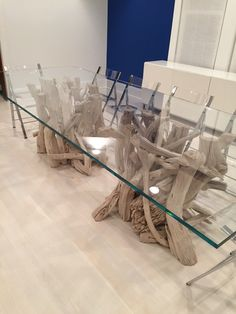 Large Driftwood U0026 Glass Dining Table