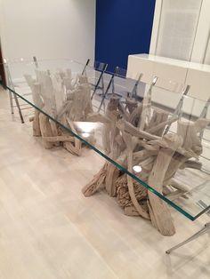 Hampton Driftwood Dining Table Base For Round Glass Top Glass - Glass dining table with driftwood base