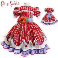 vestidos de festa junina infantil - Pesquisa Google Afro, Cheer Skirts, Elsa, Doll Clothes, Kids Outfits, Sewing Projects, Kawaii, Casual, Stitching