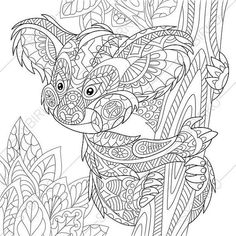 Stock vector of 'Zentangle stylized cartoon koala bear sitting among tree leaves. Hand drawn sketch for adult antistress coloring page, T-shirt emblem, logo or tattoo with doodle, zentangle, floral design elements. Bear Coloring Pages, Doodle Coloring, Coloring Pages To Print, Adult Coloring Pages, Coloring Books, Zen Colors, Vector Art, Bear Vector, Spoonflower