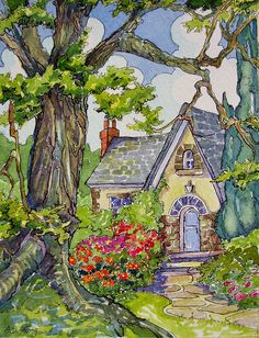 Such a sweet cottage. The kind of illustrations I grew up on and always loved !