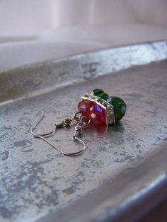 Red and Green Beaded Dangle Earrings - Handmade by belleonabudget