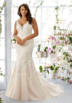 3e23b962d Diamanté and Pearl Beaded Edging on Net Morilee Bridal Plus Size Wedding  Dress with Alençon Lace Appliqués Over Soft Satin