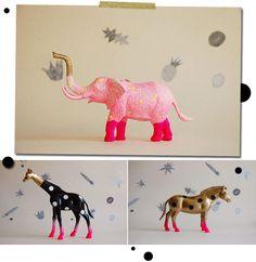 animals, polkadots, gold, hot pink, SPRAY PAINT ANIMALS