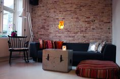 DIY raw brick | Passions for Fashion  like the look and feel of this room