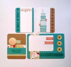 6 Birthday Journal Cards for Project Life or Scrapbooking - CTMH stamps. $3.25, via Etsy.