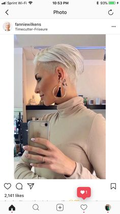My Hairstyle, Undercut Hairstyles, Pixie Hairstyles, Cool Hairstyles, Short Grey Hair, Short Hair Cuts, Short Hair Styles, Girls Short Haircuts, Short Hairstyles For Women