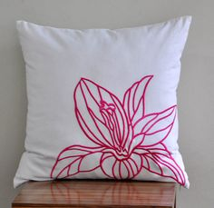 Fuchsia Pink Casablanca Pillow Cover Pink Flower by KainKain, $23.00