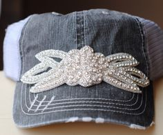 Womens Cadet Hats, Trucker Hats, Bling Caps, womens gifts, womens bling hats, Rhinestone Hat Distressed Military Style Hat  Flower Cap by Ebowsboutique on Etsy https://www.etsy.com/listing/256710170/womens-cadet-hats-trucker-hats-bling