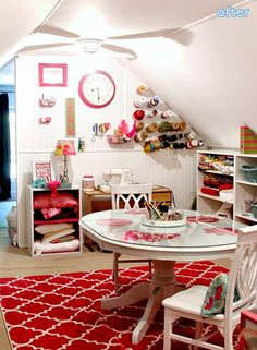 Insane in the Membrane: http://topthistopthat.blogspot.com/2014/05/craftaliciouscraft-room-reveal.html