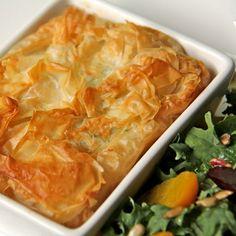 Feta Filo Tart w/ Spinach & Chicken — A fabulous, make ahead meal-in-one!
