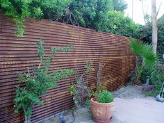 horizontal rusty corrugated iron screen