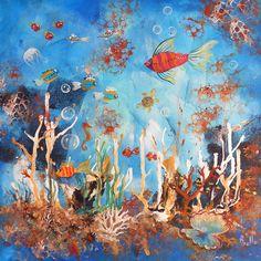 Tableau - Aquarium - peintures-axelle-bosler : Peintures par peintures-axelle-bosler