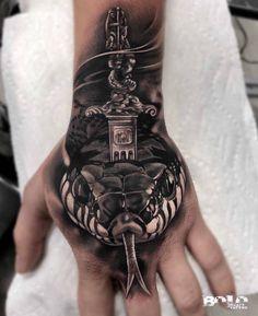 hand tattoo snake realistic