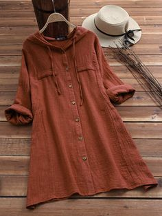 Plus Size Cotton Linen Blouse, Long Sleeve Fashion Vintage Retro Tops, Woman Clothes Button Hooded Shirt Dress size outfits videos Casual Loose Solid Color Drawstring Hooded Cotton And Linen Shirt Camisa Formal, Linen Blouse, Mode Hijab, Plus Size Blouses, Athleisure, Types Of Sleeves, Shirt Sleeves, Blouses For Women, Women's Blouses
