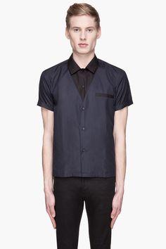 SAINT LAURENT Black and navy layered shirt
