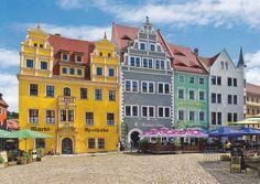Meissen - Porzellan- und Weinstadt an der Elbe. Bürgerhäuser am Markt.