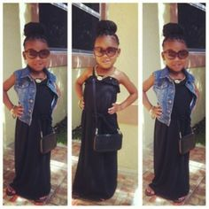 Black maxi dress with denim vest. Little fashionista. Hair bun. Little girl fashion. Summer style. Super cute little girl outfit.