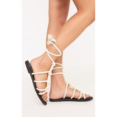 Paula Cream Rope Sandals featuring polyvore, women's fashion, shoes, sandals, white, gladiator sandal, gladiator shoes, white gladiator shoes, rubber sole shoes and cream shoes