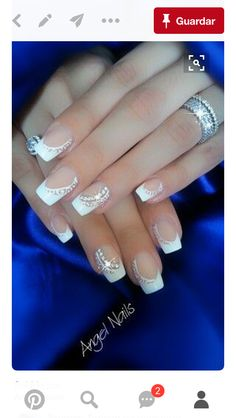 Image via 45 Chic White Nails Art Designs to try in 2015 Image via 100 Delicate wedding nail ideas. Like these fancy Silver and gem wedding nails. Image via 50 simple nail art des Fabulous Nails, Gorgeous Nails, Pretty Nails, French Nails, French Manicures, Valentine's Day Nail Designs, French Nail Designs, Bride Nails, Wedding Nails Design