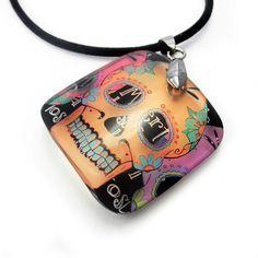 Pendant, Sugar Skull, Resin, embedded photo pendant by BuyMyCrap. Día de los Muertos pendant.