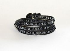 Black and clear multi-wrap bracelet