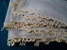 Crochet decorated shawl/Light blue decorated scarf/ by RazVihreno on Etsy