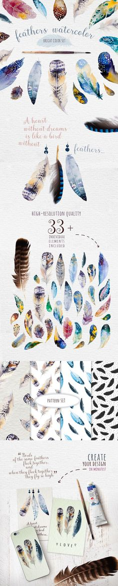Drawing On Creativity Watercolor feather DIY. BOHO style by Peace ART on Creative Market Watercolor Feather, Feather Art, Watercolor Paintings, Tattoo Watercolor, Watercolors, Feather Painting, Watercolor Ideas, Watercolor Techniques, Art Techniques