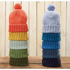 Wouldn't these hats look great in some DROPS Love #4! Ravelry: Winter Warmer Hat pattern by Rae Blackledge
