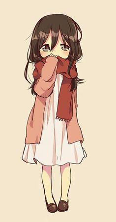Anime girl. Mikasa chibi. Shingeki no Kyojin