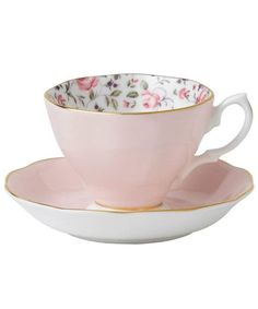 PINK ROSE CONFETTI VINTAGE TEACUP AND SAUCER, ROYAL ALBERT