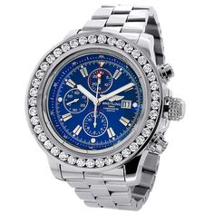This Custom Breitling Super Avenger Mens Diamond Watch features 7 carats of genuine custom set diamonds on the bezel of the stainless steel case. This Breitling diamond watch showcases a stainless steel band, a navy blue dial with three chronograph subdials and a date display window at the 3 o'clock position.  This luxurious watch is pre-owned in like new condition and comes with a 2 year warranty from ItsHot.com