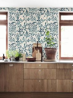 30% OFF from Watercolor botanical wallpaper Wall by BohoWalls