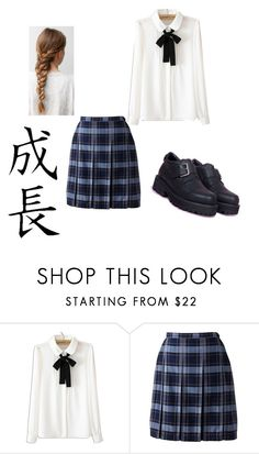 """""""Japanese school uniform"""" by isabellanielsen ❤ liked on Polyvore featuring WithChic, Lands' End and UNIF"""