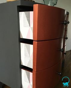 Metallic copper modern masters set of lockers / rustoleum chalk paint in graphite / next wallpaper decoupage Rustoleum Chalked, Rustoleum Chalk Paint, Hand Painted Furniture, Modern Furniture, Monkey Decorations, Next Wallpaper, Modern Masters, Graphite, Lockers