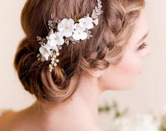 Bridal Hair Piece Cherry Blossom - Bridal Head Piece with Silk Flowers and Pearls - Wedding Hair Piece Floral - Flower Hair Comb
