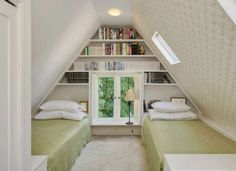 Use otherwise unused space for book storage...great idea for an attic bedroom. Solutions for Small Spaces