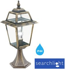 Searchlight IP44 New Orleans Outdoor Pedestal Light, Black/Gold - 1524 None